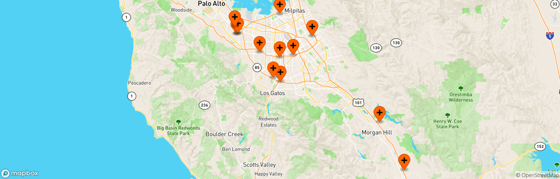 Map of El Camino Health primary doctor locations.