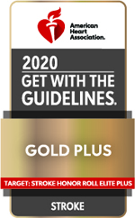 Image of the 2020 Gold Plus Award from the American Heart Association/American Stroke Association Click to learn more